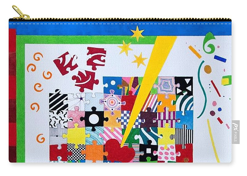 Abstract Carry-all Pouch featuring the painting Life Is A Puzzle by Thomas Gronowski