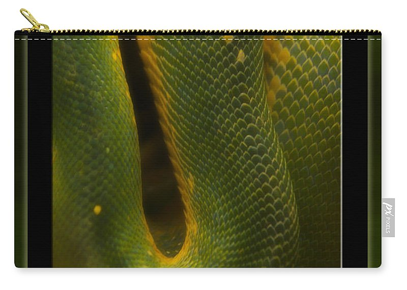 Snake Carry-all Pouch featuring the mixed media Life Is Not Curling Up And Giving Up by Thomas Woolworth