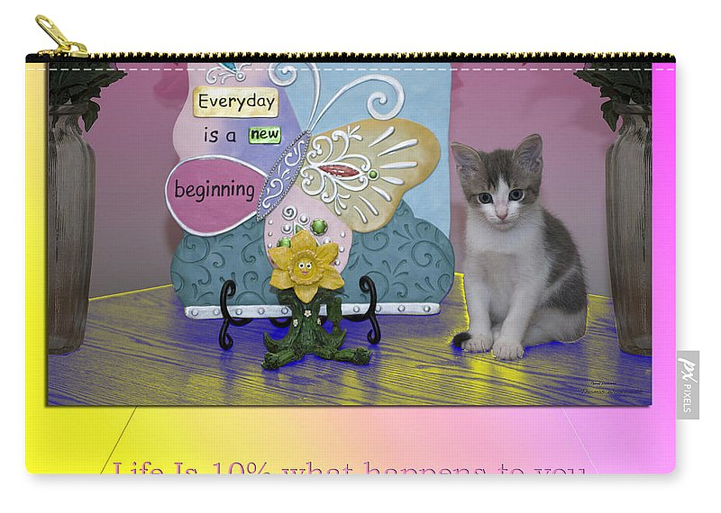 Cat Carry-all Pouch featuring the mixed media Life Is Understanding Everyday Is A New Beginning by Thomas Woolworth
