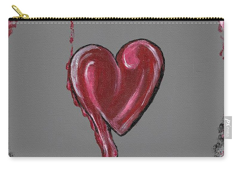 Heart Carry-all Pouch featuring the painting Lifes Grey Area by Eric Atherton