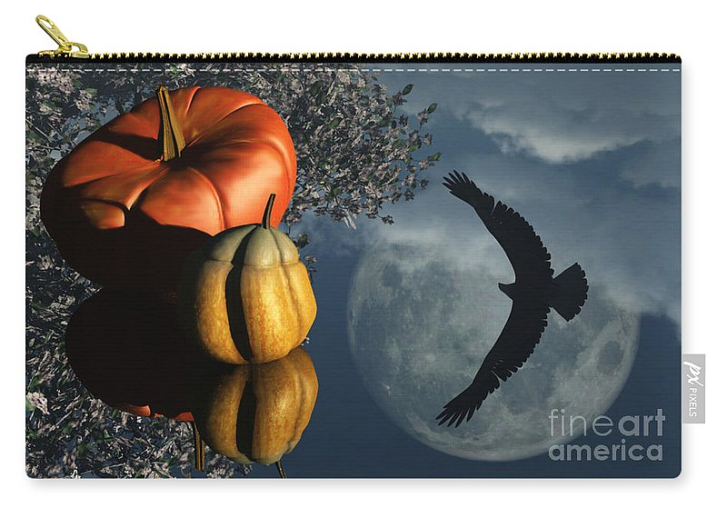 Harvest Moon Carry-all Pouch featuring the digital art Life's Reflections by Richard Rizzo