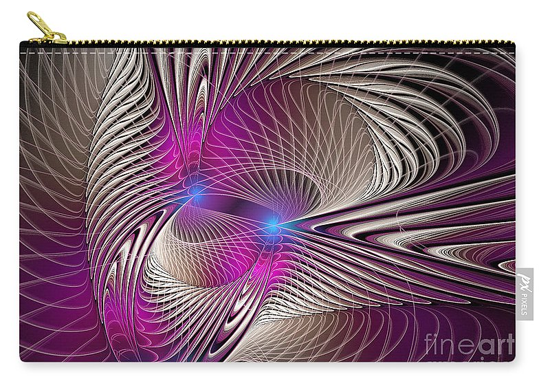 Digital Carry-all Pouch featuring the digital art Light And Lines by Deborah Benoit
