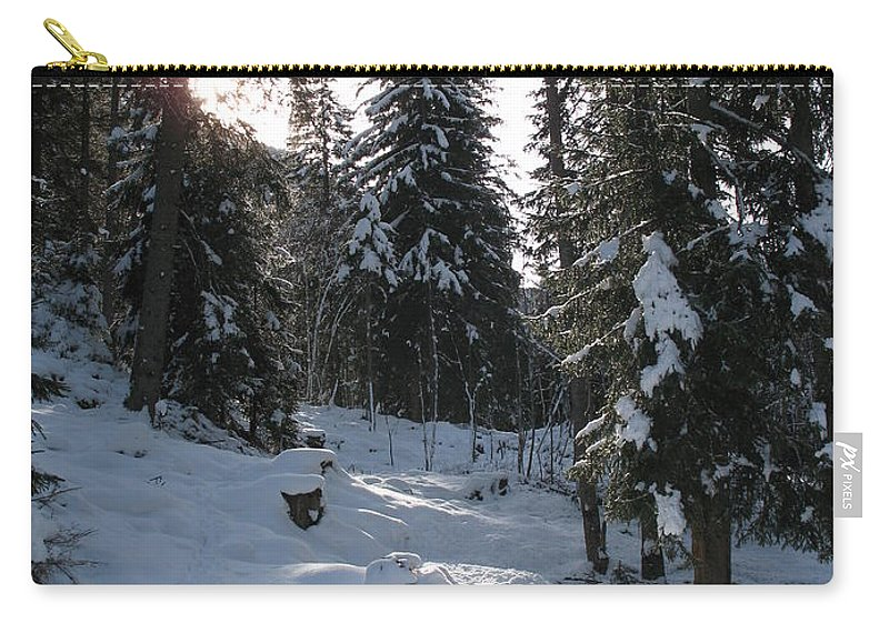 Snow Carry-all Pouch featuring the photograph Light And Shadow On A Snowy Landscape by Christiane Schulze Art And Photography