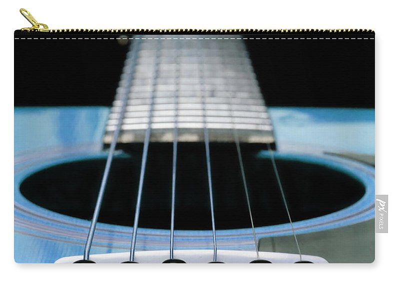 Andee Design Guitar Carry-all Pouch featuring the photograph Light Blue Guitar 13 by Andee Design