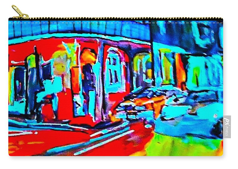 French Quarter Carry-all Pouch featuring the painting Light Blue Lights Flood The Night by Paula Baker