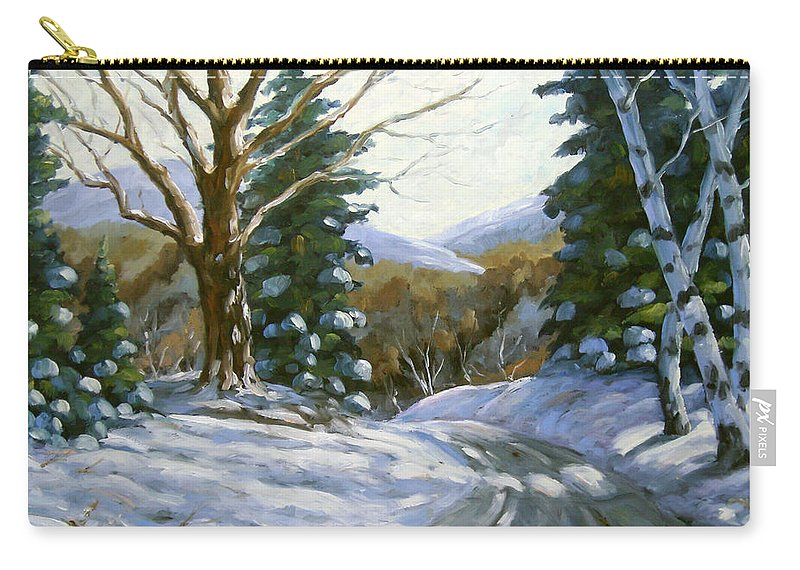 Art Carry-all Pouch featuring the painting Light Breaks Through The Pines by Richard T Pranke