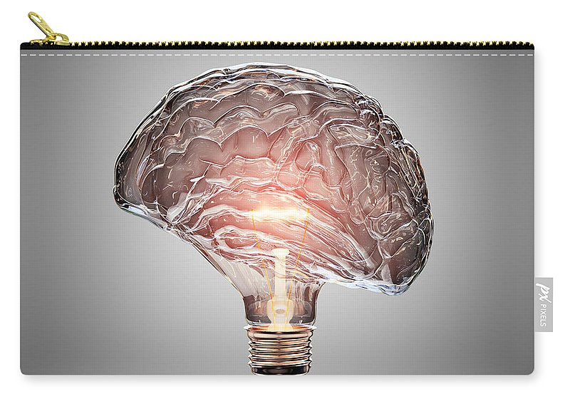 Light Carry-all Pouch featuring the photograph Light Bulb Brain by Johan Swanepoel