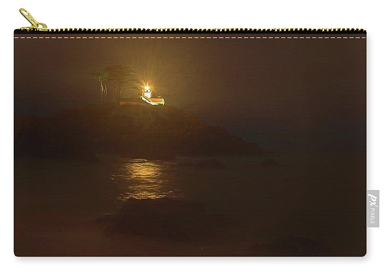Lighthouse Carry-all Pouch featuring the painting Light In The Dark by Daniel Hodac