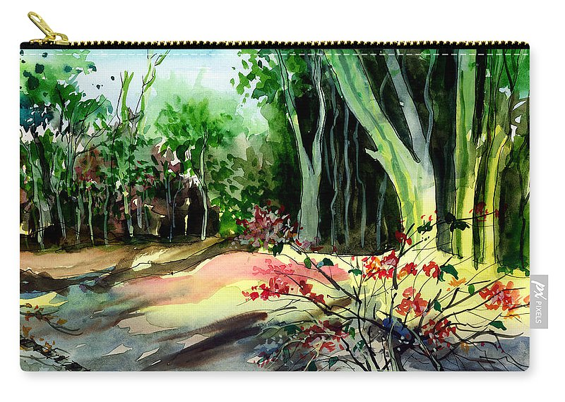 Watercolor Carry-all Pouch featuring the painting Light In The Woods by Anil Nene