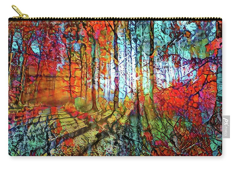 Light Through The Tree Carry-all Pouch featuring the mixed media Light In The Woods by Lilia D
