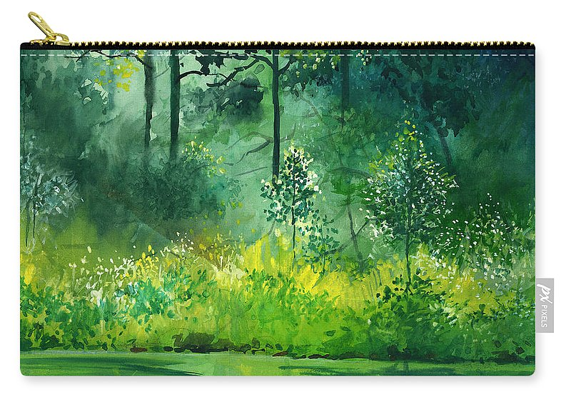 Water Carry-all Pouch featuring the painting Light N Greens by Anil Nene