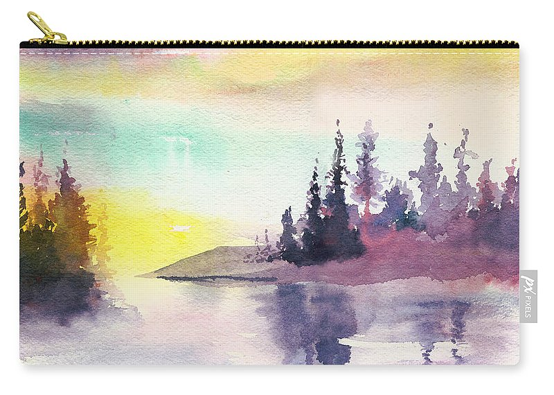 River Carry-all Pouch featuring the painting Light N River by Anil Nene