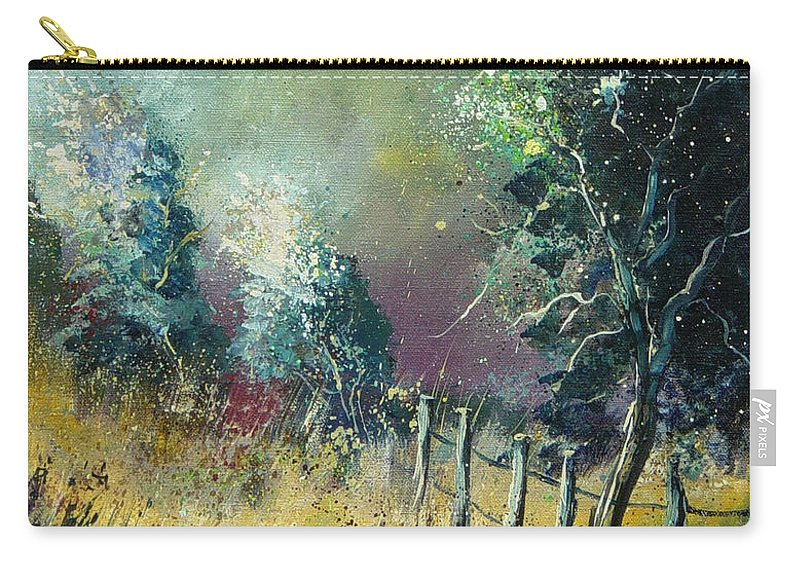 Landscape Carry-all Pouch featuring the painting Light On Trees by Pol Ledent
