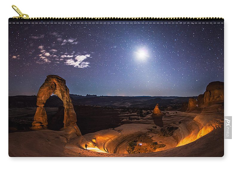 Delecate Arch Carry-all Pouch featuring the photograph Light Painter by Jon Blake