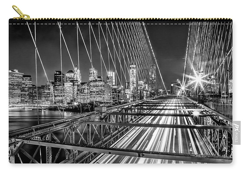 Brooklyn Bridge Carry-all Pouch featuring the photograph Light Trails Of Manhattan by Az Jackson
