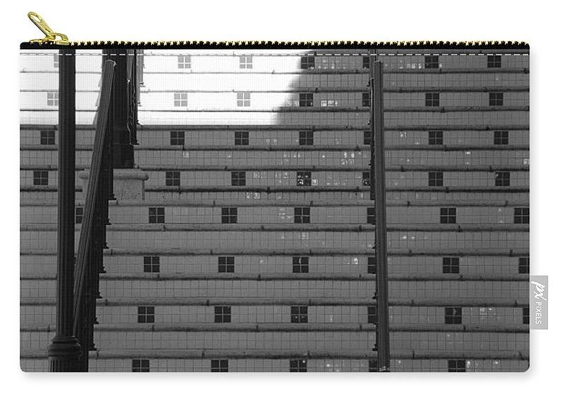 Black And White Carry-all Pouch featuring the photograph Lighted Steps by Rob Hans