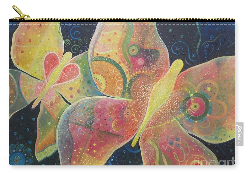 Butterfly Carry-all Pouch featuring the painting Lighthearted by Helena Tiainen