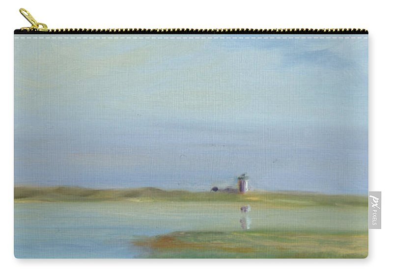 Landscape Carry-all Pouch featuring the painting Lighthouse Across The Ptown Moors by Phyllis Tarlow
