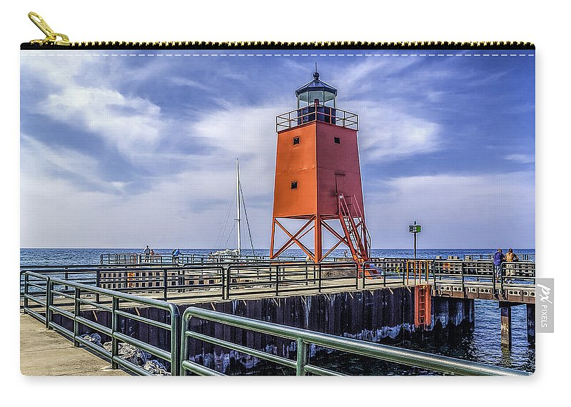 Charlevoix South Pier Carry-all Pouch featuring the photograph Lighthouse At Charlevoix South Pier by Nick Zelinsky
