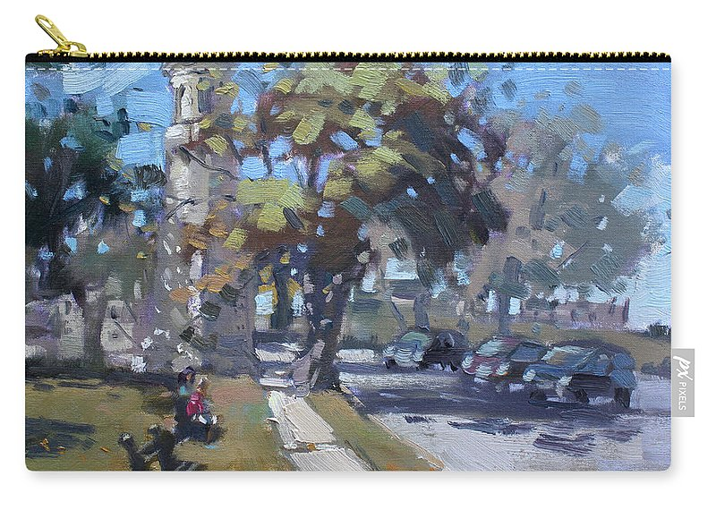Lighthouse Carry-all Pouch featuring the painting Lighthouse At Fort Niagara by Ylli Haruni