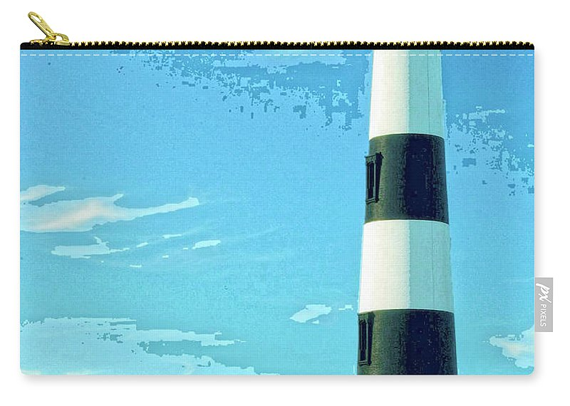 Lighthouse Carry-all Pouch featuring the mixed media Lighthouse Bodie Island by Dominic Piperata