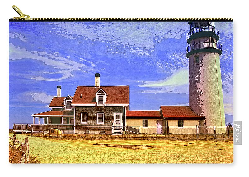 Lighthouse Carry-all Pouch featuring the mixed media Lighthouse Cape Cod by Dominic Piperata