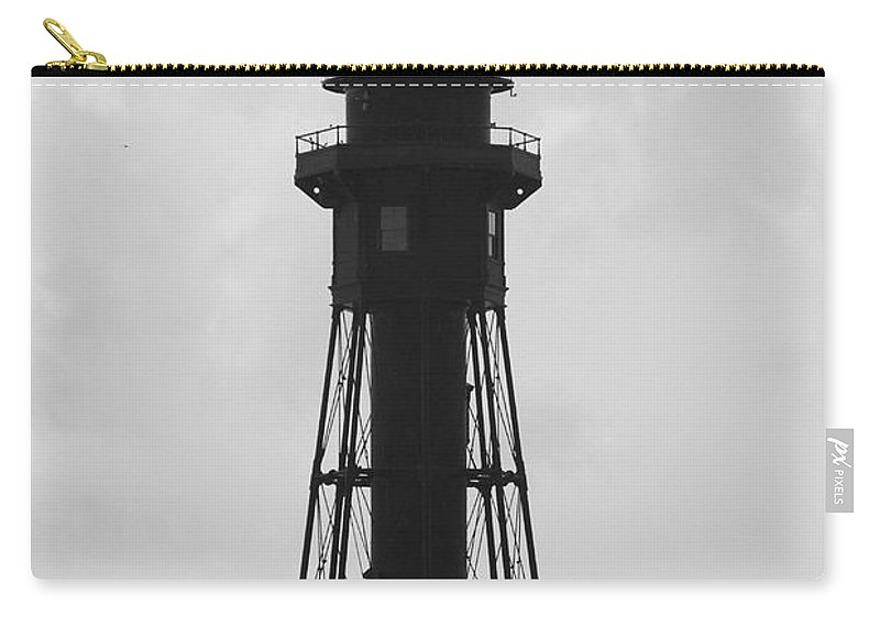 Landscape Carry-all Pouch featuring the photograph Lighthouse In Black And White by Rob Hans