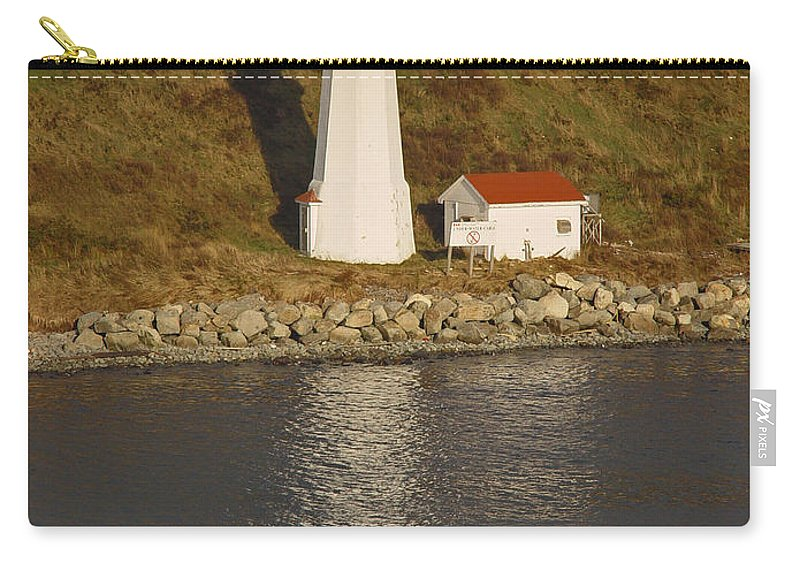 Lighthouse Carry-all Pouch featuring the photograph Lighthouse In Maine by Heather Coen