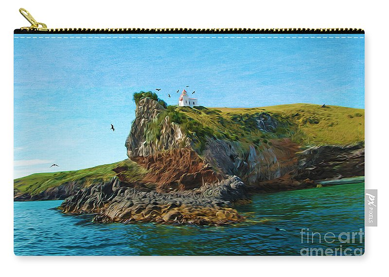 Lighthouse Carry-all Pouch featuring the photograph Lighthouse On Cliff Dunedin New Zealand by Laura D Young