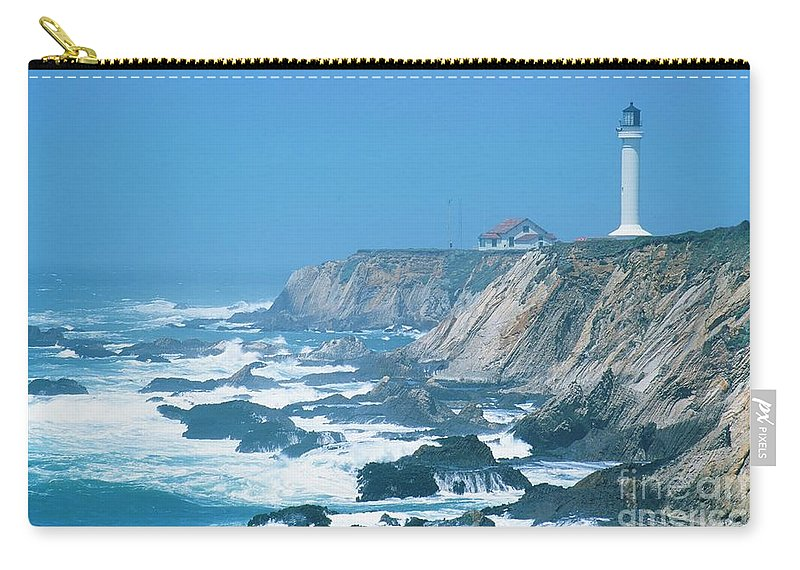 Lighthouse Carry-all Pouch featuring the photograph Lighthouse On The California Coast by Ronnie Glover