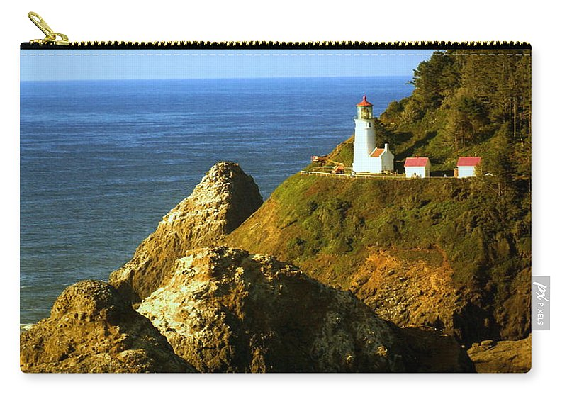 Ocean Carry-all Pouch featuring the photograph Lighthouse On The Oregon Coast by Marty Koch