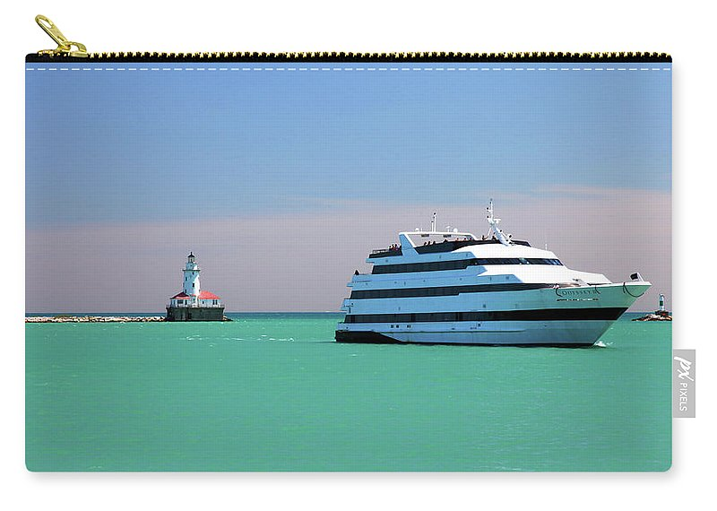 Lighthouse Carry-all Pouch featuring the photograph Lighthouse Ship Chicago Navy Pier by Patrick Malon