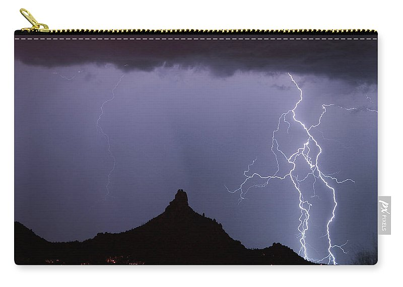 Arizona Carry-all Pouch featuring the photograph Lightnin At Pinnacle Peak Scottsdale Arizona by James BO Insogna