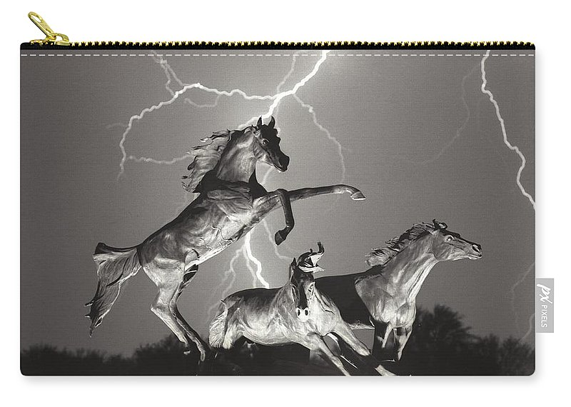 Horses Carry-all Pouch featuring the photograph Lightning At Horse World by James BO Insogna