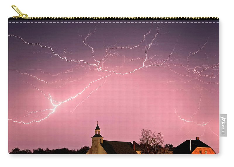 Old Carry-all Pouch featuring the digital art Lightning Bolts Over Spring Valley Country Church by Mark Duffy