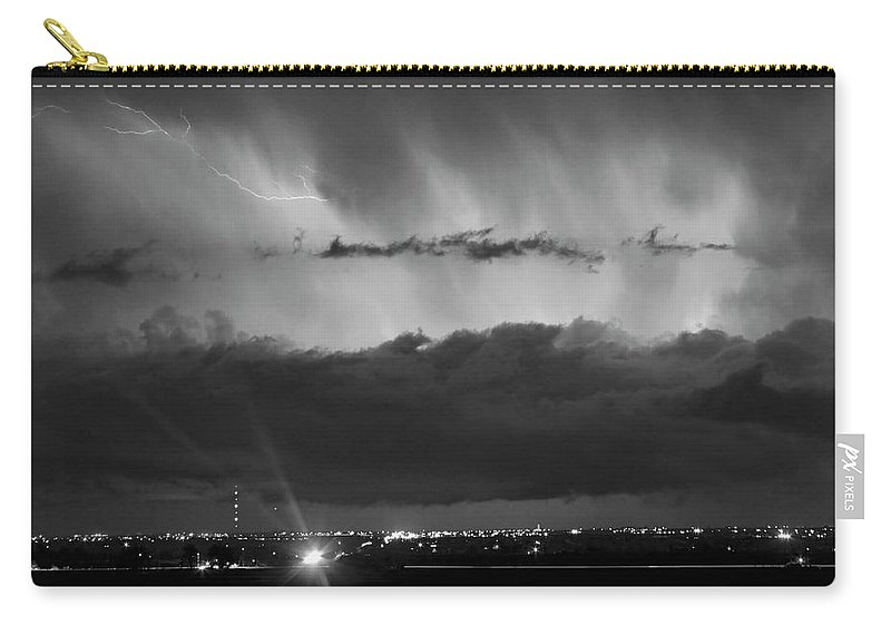 Cloudburst Carry-all Pouch featuring the photograph Lightning Cloud Burst Black And White by James BO Insogna