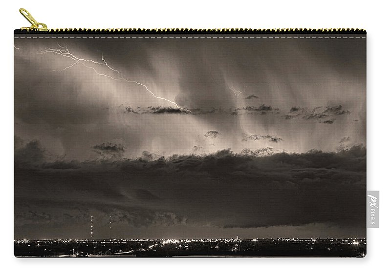 Bouldercounty Carry-all Pouch featuring the photograph Lightning Cloud Burst Boulder County Colorado Im39 Sepia by James BO Insogna