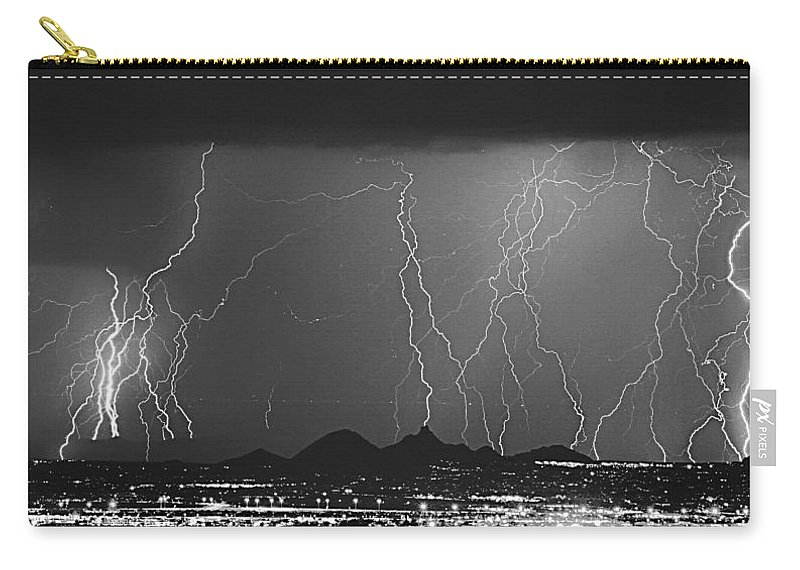 Lightning Carry-all Pouch featuring the photograph Lightning Long Exposure by James BO Insogna