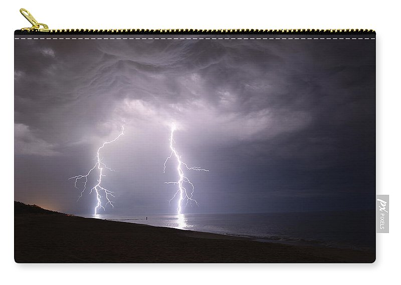 Weather Carry-all Pouch featuring the photograph Lightning On The Beach #2 by Connor Sipe