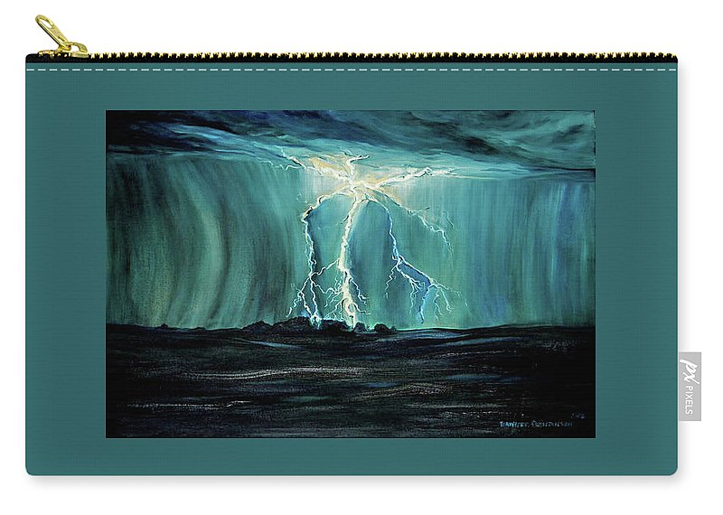 Lightning Carry-all Pouch featuring the painting Lightning On The Prairie by Jennifer Christenson