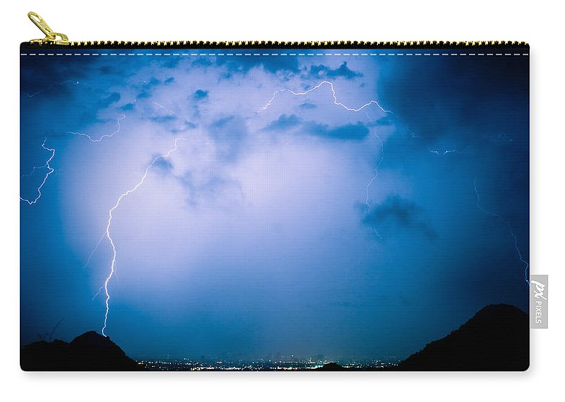 Lightning Carry-all Pouch featuring the photograph Lightning Rainbow Blues by James BO Insogna