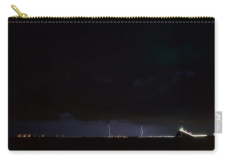 Carry-all Pouch featuring the photograph Lightning Skyway by Daniel Pollard