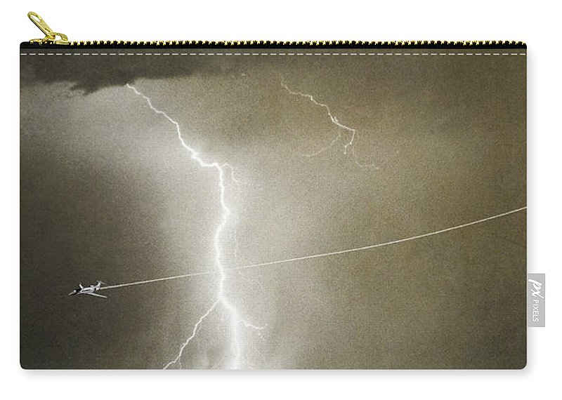 Lightning Carry-all Pouch featuring the photograph Lightning Storm City Lights Jet Airplane Fine Art Photography by James BO Insogna
