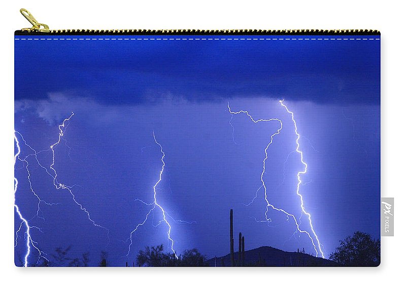 Lightning Carry-all Pouch featuring the photograph Lightning Storm In The Desert Fine Art Photography Print by James BO Insogna