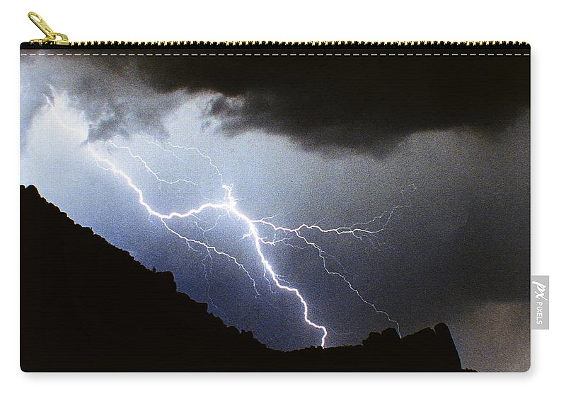Lightning Carry-all Pouch featuring the photograph Lightning Strike Bump In The Road by James BO Insogna