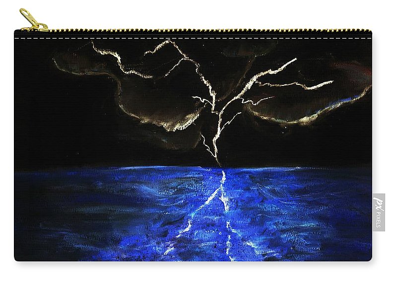 Lighting Carry-all Pouch featuring the drawing Lightning Strikes by Melvin Moon