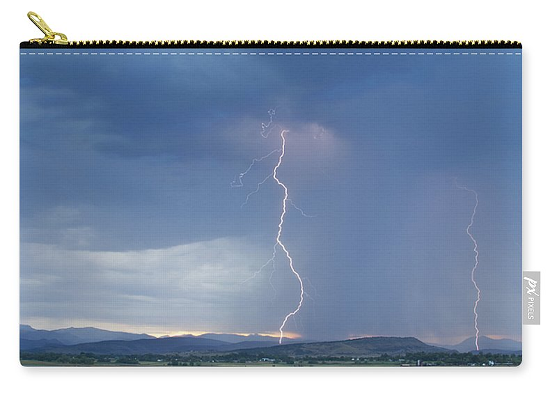 July Carry-all Pouch featuring the photograph Lightning Striking At Sunset Rocky Mountain Foothills by James BO Insogna