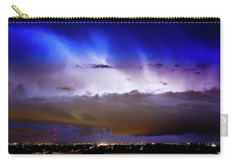 Bo Insogna Carry-all Pouch featuring the photograph Lightning Thunder Head Cloud Burst Boulder County Colorado Im39 by James BO Insogna