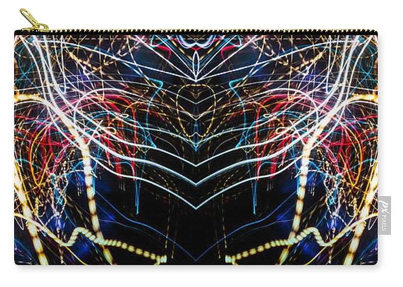 Painted Carry-all Pouch featuring the photograph Lightpainting Panorama Print Photograph 3 by John Williams