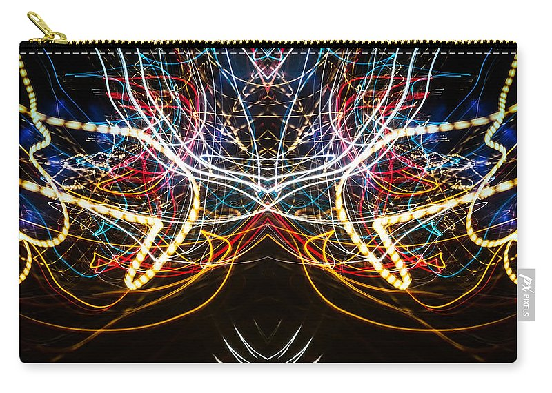 Homedecor Carry-all Pouch featuring the photograph Lightpainting Symmetry Wall Art Print Photograph 1 by John Williams